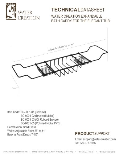Water Creation BC-0001-03 Expandable Bath Caddy for The Elegant Tub by Water Creation (Image #1)