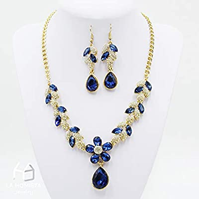La Homieta, Bridal Austrian Crystal and Rhinestone Luxurious Alloy Flower Pendant, Necklace and Earring Jewelry Sets