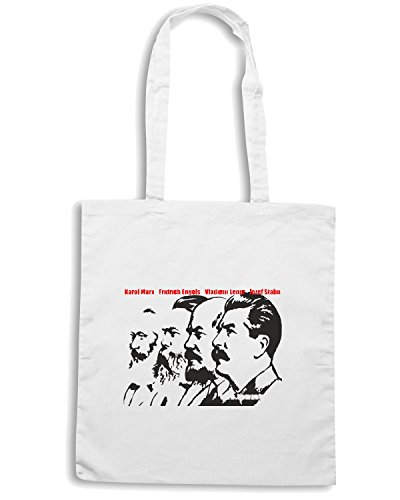 T-Shirtshock - Bolsa para la compra TCO0076 Karl-Marx-Friedrich-Engels-Vladimir-Lenin-Joseph-Stalin Blanco