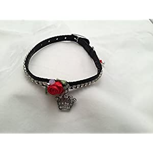 Black 12 Inch Long Nylon Dog Collar Adorned With Red Silk Rosettes, Swarovski Crystal Chain and a Crystal Crown Charm Fit for a King