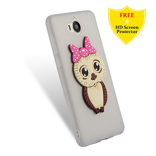 Huawei Honor 7X Case + Free HD Screen Protector,idatog 3D Cute Cartoon Owl Design Soft Silicone Gel Skin Cover Case Flexible TPU Creative Case Bumper Shockproof Anti-Scratch Protective Back Cover For White