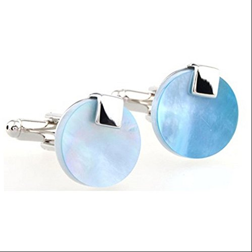 (Covink Men's Rhodium Plated Mother of Pearl Abalone Deep Sea Blue Shell Cufflinks Round Studs Tuxedo)