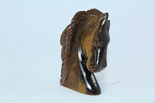 PH Artistic Handcrafted Handmade Natural Tiger's Eye Gemstone Animal Horse Face Figure Home Decorative Gift Item