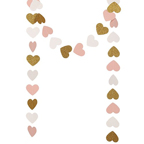 Lings moment 9 Feet Glitter Paper Heart Garland, Heart-Shaped Hanging Decorations for Wedding, Baby Shower, Party, Bridal Shower, Christmas Items & Party Props (Gold Glitter+Pink+White)