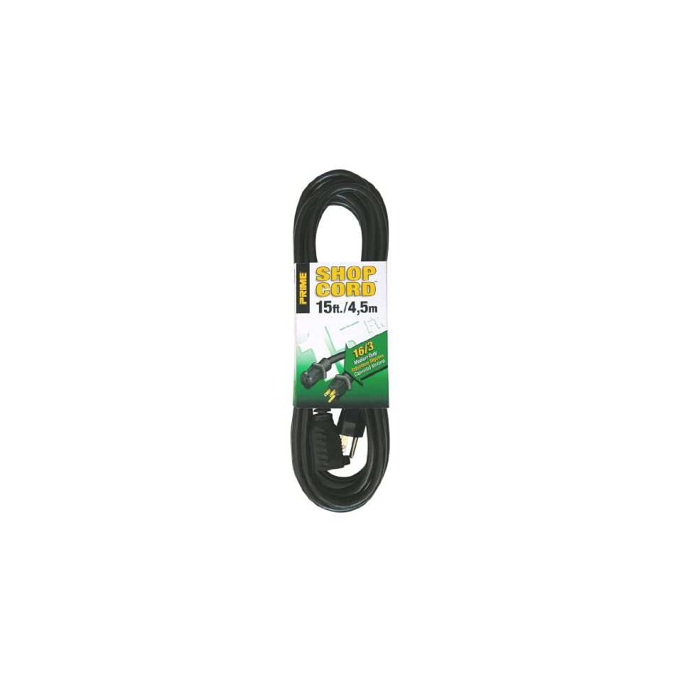 Prime Wire & Cable EC502615 15 Foot 16/3 SJTW Indoor and Outdoor Extension Cord, Black