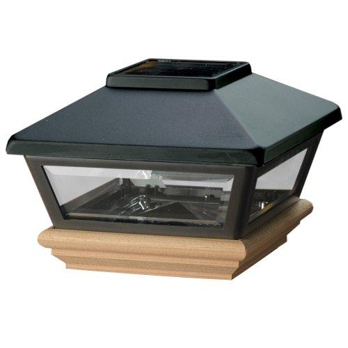 Deckorators 94954 Solar Black Post Cap with Cedar Base