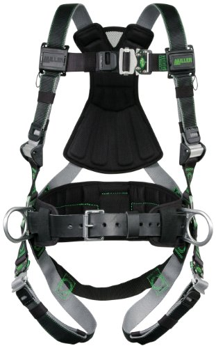 Miller Revolution Full Body Safety Harness with Quick Connectors, Removable Belt, Side D-Rings & Pad, Universal Size-Large/XL, 400 lb. Capacity (RDT-QC-BDP/UBK)
