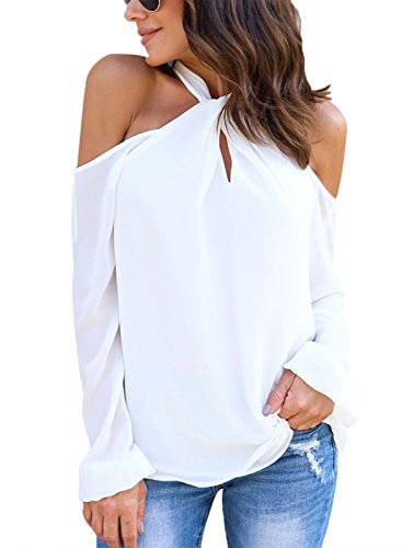 Acelitt Womens Casual Long Sleeve Knot Neckline Cold Shoulder Top White - Knot Top Neckline