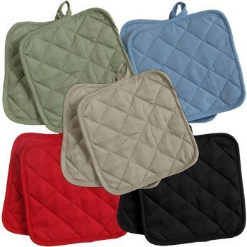 5 (FIVE) Sets of The Home Store Cotton Pot Holders, 2-ct. Color Variety Pack Kitchen Cooking Chef Linens by Greenbrier