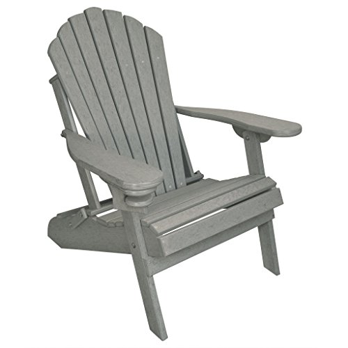ECCB Outdoor Outer Banks Deluxe Oversized Poly Lumber Folding Adirondack Chair (Driftwood Gray) (The Best Adirondack Chair Review)