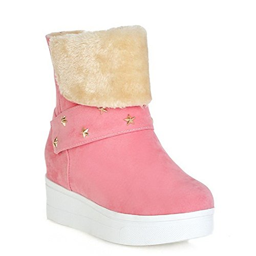 AgooLar Women's Imitated Suede Solid Pull On Closed Round Toe Kitten Heels Boots Pink WFIe1