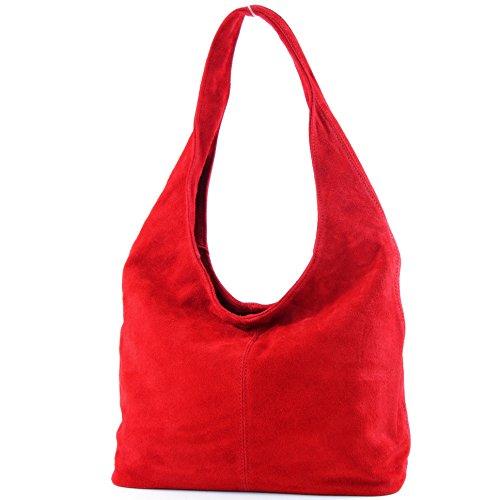 à Wildleder ital Sac en bandoulière Sac de T150 cuir à bandoulière Damentasche Modamoda Rouge Bwp86fqn