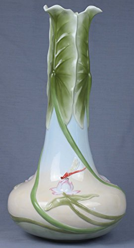 16 Inch Tall Porcelain Vase Triple Lotus Leaves with Red Dragon - Vases Porcelain Dragonfly