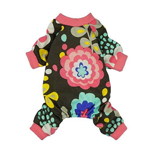Fitwarm Floral Pet Clothes for Dog Pajamas Shirts Jumpsuits Cotton Pink Large