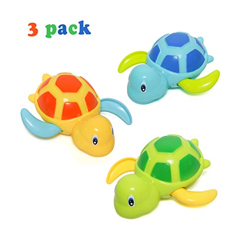 Baby Bath Toy, Swimming Turtle, Floating Wind-up Bathtub Pool Toys Cute Water Play Sets for Kids Boys Girls 3 Pcs ()