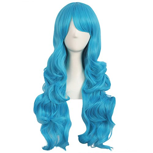 MapofBeauty 28 Inch/70cm Charming Women Side Bangs Long Curly Full Hair Synthetic Wig (Cyan Blue)