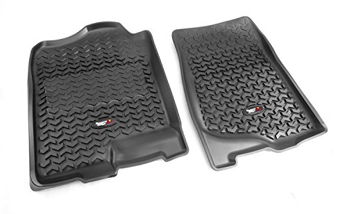 Liner Row Floor (Rugged Ridge All-Terrain Black Front Row Floor Liner For Select Cadillac Escalade, Chevrolet Avalanche, Silverado, Suburban, Tahoe, GMC Sierra and Yukon Models)