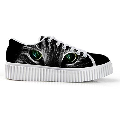 Câlins Idée Chat Face Impression Casual Plate-forme Espadrilles Bout Rond Bas Coupe Chaussures Visage De Chat 2