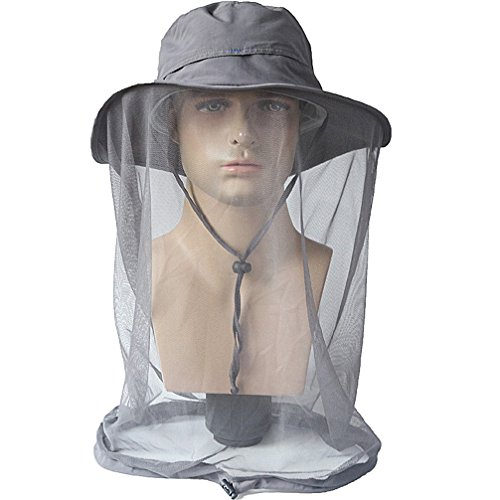 Luwint Mosquito Head Net Hat, Breathable Sun Hat Beekeeper Hat Cap with Veil Protection from Insect Bug Bee Mosquito for Outdoor Fishing Gardening Hiking Travel (Gray/Large (22.8''-23.6'')]()