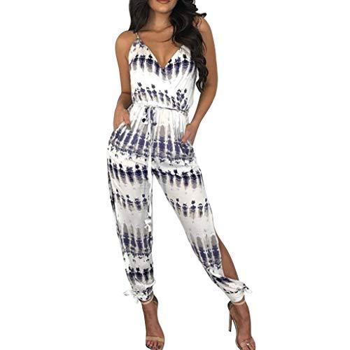 Caopixx Summer Romper for Women Casual Geometric Printed Bandage Waist Long Jumpsuit Blue