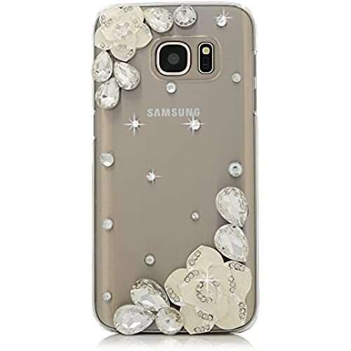 Samsung Galaxy S7 Active Case, STENES [Luxurious Series] 3D Handmade Shiny Crystal Bling Case with Retro Bowknot Anti Dust Plug - Camellia Flowers / White Sales