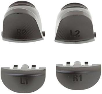 PS4コントローラー用 交換キット カスタム 金属 L1 R1 L2 R2 モードボタン  -黒