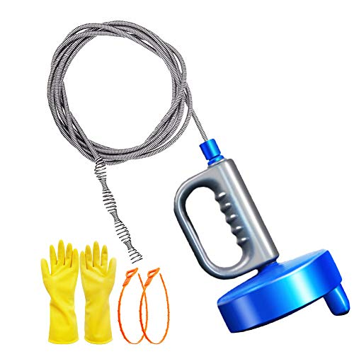 Thinvik 33Ft/10M Drain Snake Plumbing Drain Auger Sink Hair Clog Remover, Heavy Duty Pipe Clogged Cleaner For Bathtub…