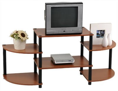 Momentum Furnishings 5 Tier Cherry Finish with Black Accents Corner Shelf