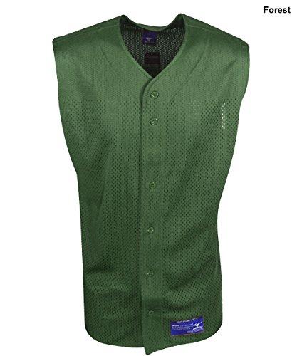 Mens Full Button Sleeveless Jersey (Mizuno Men's Full Button Mesh Sleeveless Baseball Jersey, Forest, Large)