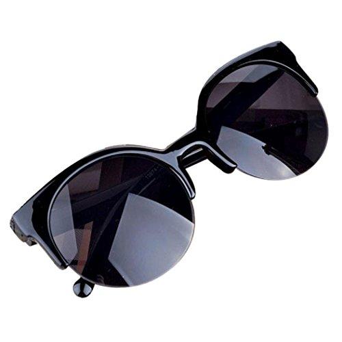 Price comparison product image Unisex Fashion Vintage Sunglasses Cat Eye Semi-Rim Round Sunglasses B