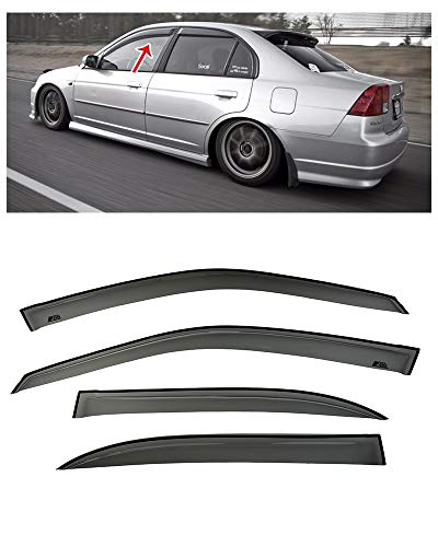 Extreme Online Store Replacement for 2001-2005 Honda Civic Sedan | EOS Visors JDM Tape-On Smoke Tinted Side Window Visors Rain Guard Deflectors DWV-HC0105-4DR-OE