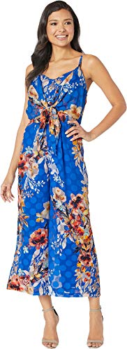 (ECI New York Women's Floral Chiffon Burn Out dot Jumpsuit with tie Front, Blue,)