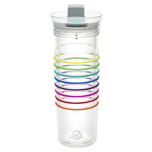 Zak! Designs HydraTrak Double Wall Tumbler with Lever Lid, Clear, Water Intake Calculator, BPA-free and Break-resistant Plastic, 20 oz.