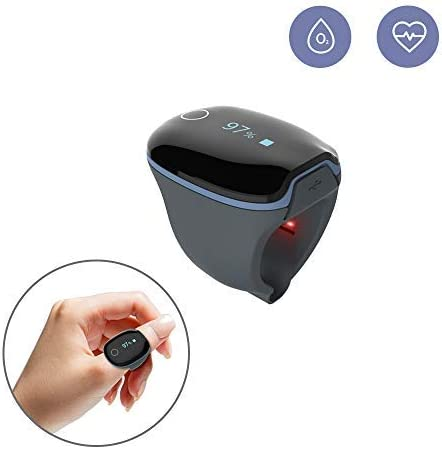 Health Ring Tracker, Oxygen Levels Heart Rate Monitor w Vibration Feedback Free APP PC Report for Sleep Fitness Aviation Wellness Use