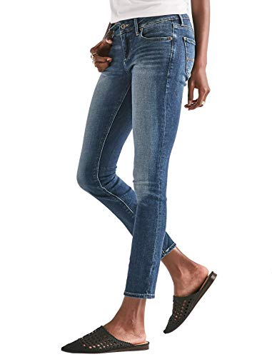 Lucky Trousers Brand Denim - Lucky Brand Women's Lolita Mid Rise Curvy Fit Skinny Jeans Lake Bridgeport Blue Wash (27W Ankle US: 4)