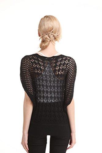 Vogueearth Mujer Niñas Pulovers Jerseys Suéteres Suéter Flojo Suéter Casual Blusa de las Negro