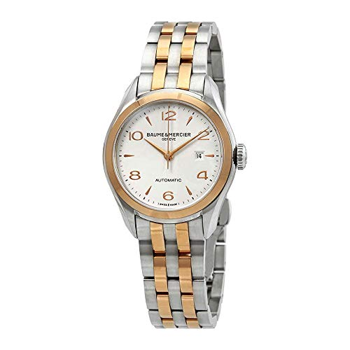 Baume & Mercier Clifton Womens Two Tone Automatic Watch - 30mm Analog Silver Face Swiss Luxury Dress Watch For Women 10152