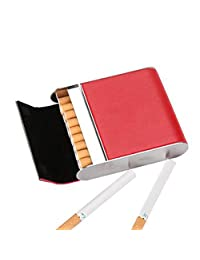 Stainless Steel Cigarette Case Vertical Section Ultra Thin Portable Cigarettes Box Business Gift Can Accommodate 20,Red,9.5X8.2X2.1CM