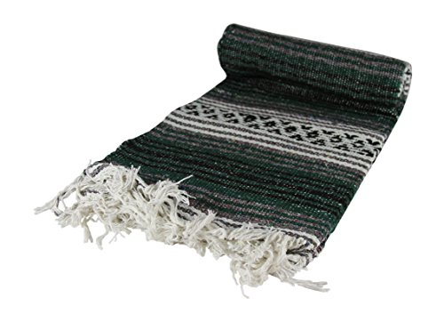 "Authentic 6' x 5' Mexican Siesta Blanket (Forest Green) - Authentic Mexican Blanket made in Mexico Blanket size 68""/56"" big enough to cover twin bed Fair trade artisan product hand made in Mexico - blankets-throws, bedroom-sheets-comforters, bedroom - 41KKCTLd3lL -"
