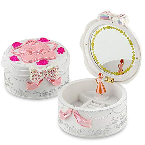 (Children 'S Heart Shaped Music Box with A Rotating Little Dancing Girl Doll Performing Ballet for Birthday Gifts)