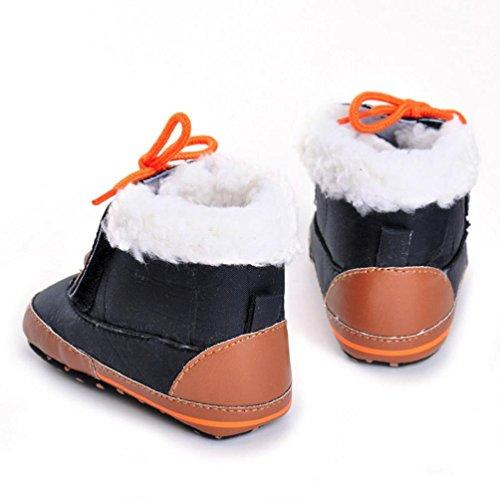 Clode® Kleinkind Baby Boy Girl Tie Schnürsenkel Stiefel Soft Sole Stiefel Prewalker Warm Schuhe Schwarz