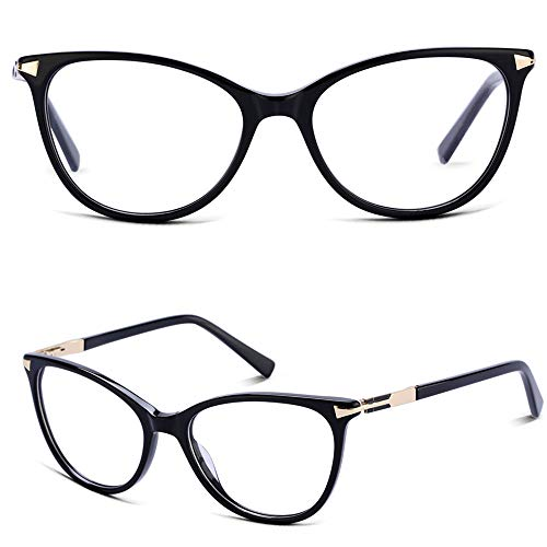 Non Prescription Glasses Eyeglass Frames for Women, Cat Eye Glasses Frames with Clear Lenes, Designer Handmade Stylish Black Eyewear Frames -
