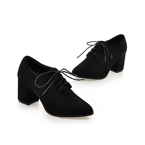 Donne Sottolineato Tacchi Alti Ha Camoscio Nero scarpe Solidi Di Lace Imitati Pompe Delle Up Punta Amoonyfashion Chiusa AM8qBFIxEw