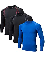 FUNGIK Long Sleeve and Sleeveless Compression Shirts for Men 3 Pack Men's Cool Dry Sports Tops for Workout