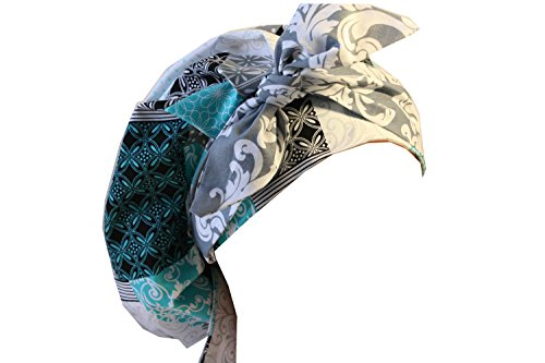 Scrub Hat Chemo Cap Banded Bouffant Style MANY Color Options Available (Patchwork/Grey Damask Tie) by Scrumptious Scrub Hatz
