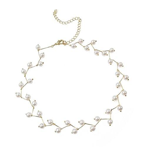 Fenical 2 unids Collar de Perlas Collar de Gargantilla de Gargantilla de Moda Simple Cadena Mujeres Niñas Regalo de La...