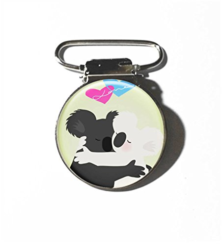 RainbowSky Koala Aztec Animal 3pc Metal Suspender Clips for Overalls Trousers Suspenders Pacifiers Toys with Epoxy Sticker, - C381