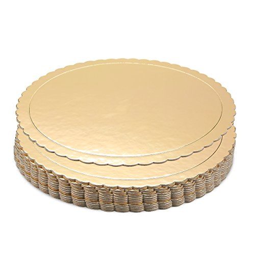 Cake Boards - 12-Piece Cardboard Scalloped Cake Circle Base, 10 Inches Diameter, Gold