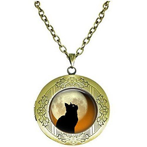 Black Cat Moon Locket Necklace - Halloween Cat