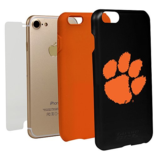 Guard Dog Black Hybrid Case for iPhone 7/8 and Guard Glass Screen Protector (Clemson Tigers) -